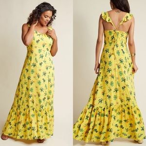 ModCloth floral Yellow fluttersleeve Maxi dress